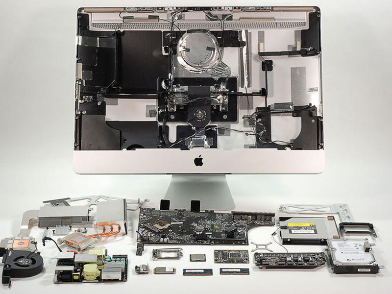 iMac opened up showing hardware components