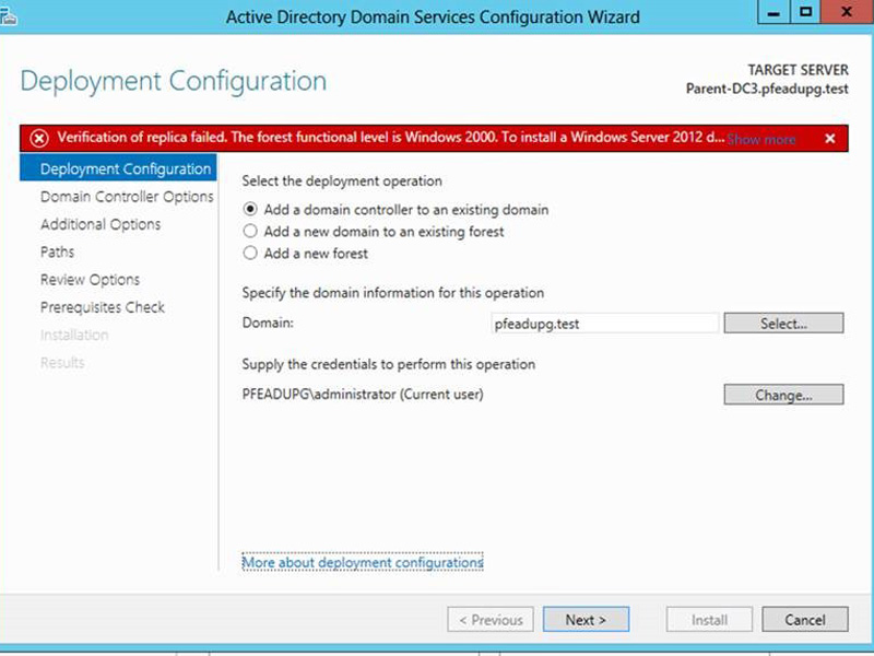 Windows Server 2012 Error Message