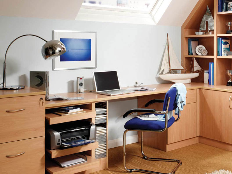 Home Office with Multiple Computers and Printers